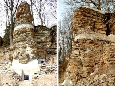 Klosova-vyhlídka-stabilizace-skalniho-piliře pomocí železobetonovýh věnců kotvených předepnutými kotvami